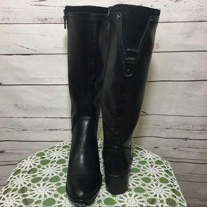NWOB Franco Sarto Black Leather Wide Calf Boots